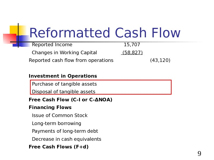 9 Reformatted Cash Flow  Reported Income 15, 707  Changes in Working Capital (58,