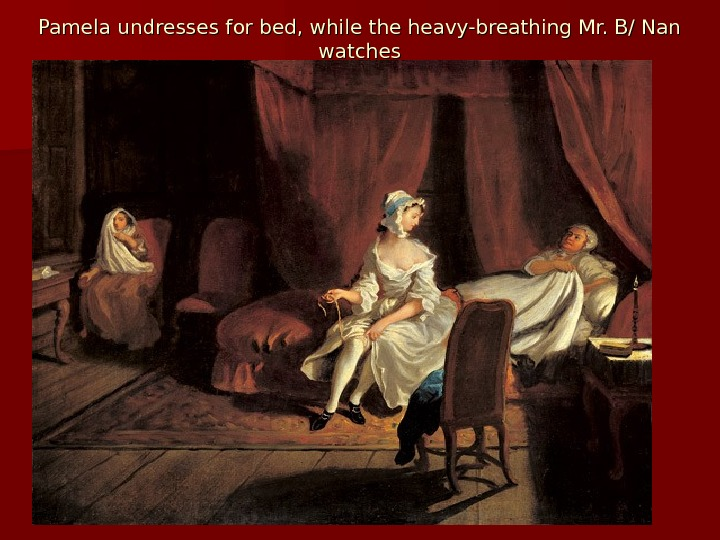Pamela undresses for bed, while the heavy-breathing Mr. B/ Nan watches