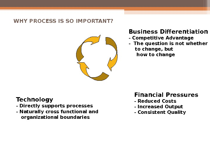 WHY PROCESS IS SO IMPORTANT? Business Differentiation - Competitive Advantage - The question is not whether