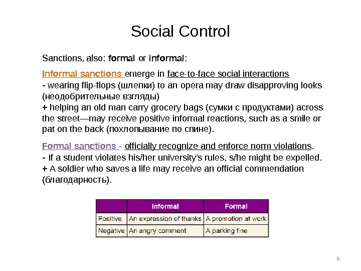 8 Social Control Sanctions, also:  formal or informal : Informal sanctions emerge in face-to-face social