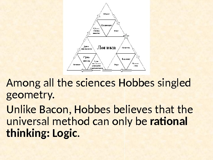 Among all the sciences Hobbes singled geometry. Unlike Bacon, Hobbes believes that the universal method can