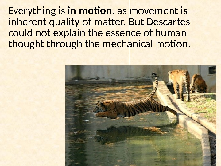 Everything is in motion , as movement is inherent quality of matter.  But Descartes could
