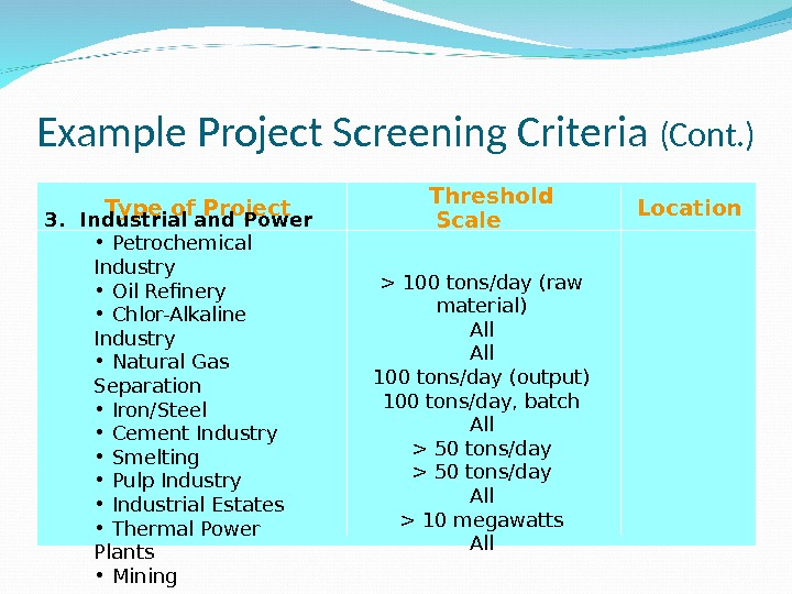 Example Project Screening Criteria (Cont. ) Type of Project  Threshold Scale Location 3.  Industrial