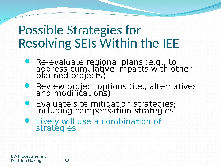 EIA Procedures and Decision Making 38 Possible Strategies for Resolving SEIs Within the IEE Re-evaluate regional