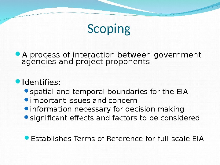 Scoping A process of interaction between government agencies and project proponents Identifies:  spatial and temporal