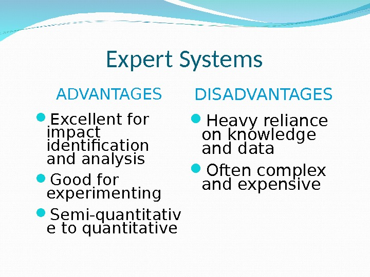 Expert Systems ADVANTAGES Excellent for impact identification and analysis Good for experimenting Semi-quantitativ e to quantitative