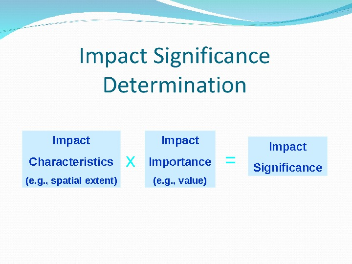 Impact Characteristics (e. g. , spatial extent) Impact Importance (e. g. , value)x = Impact Significance