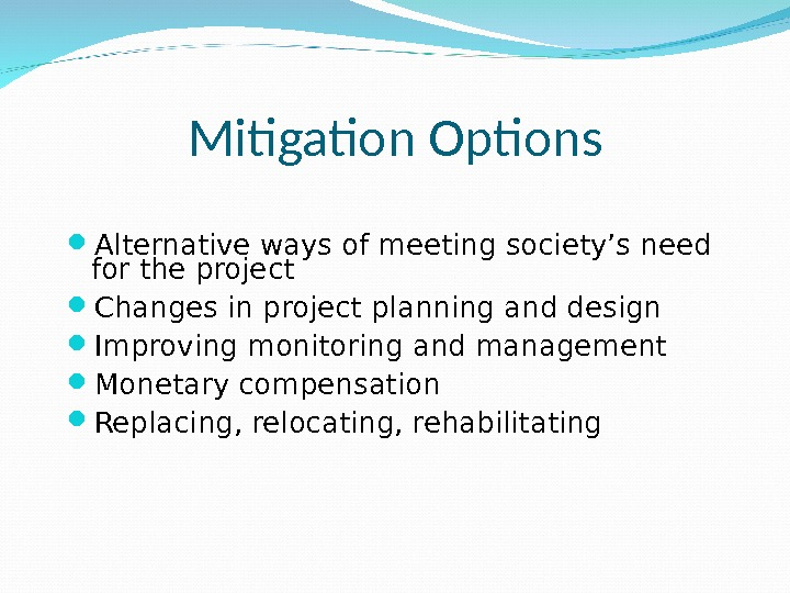 Mitigation Options Alternative ways of meeting society's need for the project Changes in project planning and