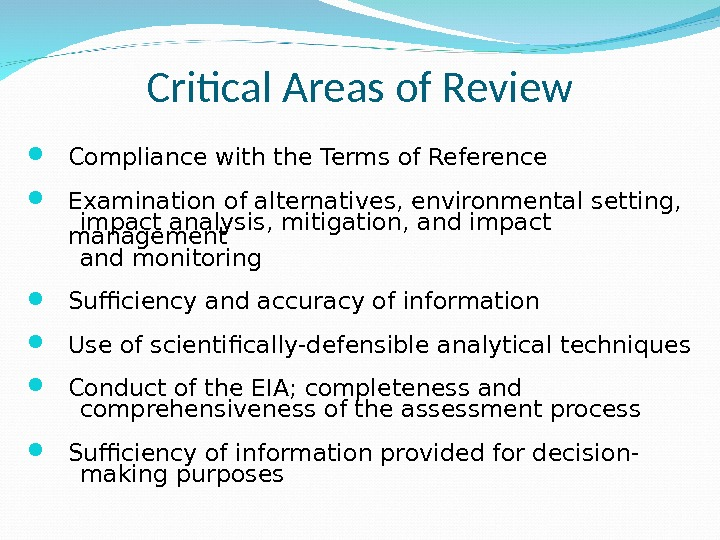 Critical Areas of Review Compliance with the Terms of Reference Examination of alternatives, environmental setting,