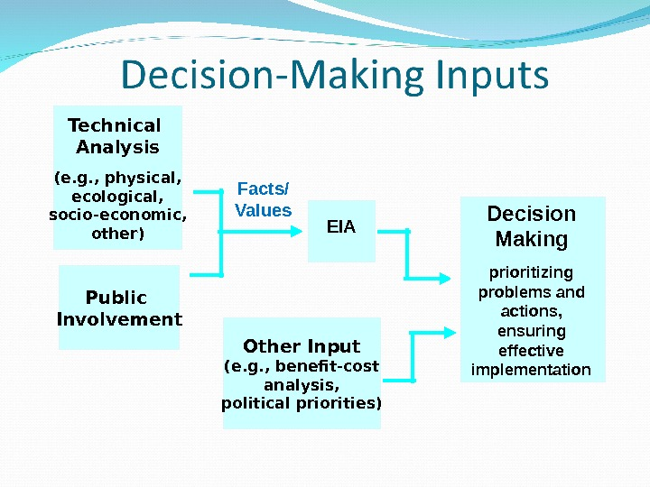 Technical Analysis (e. g. , physical, ecological, socio-economic, other) Decision Making prioritizing problems and actions,
