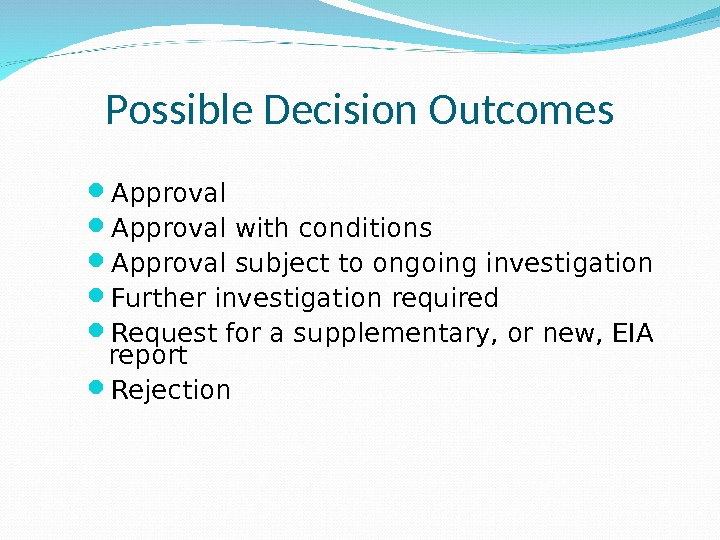Possible Decision Outcomes Approval with conditions  Approval subject to ongoing investigation  Further investigation required