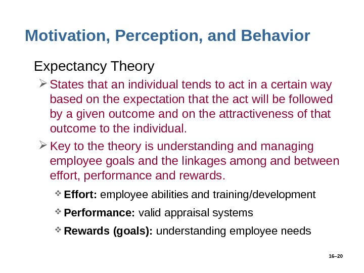 16– 20 Motivation, Perception, and Behavior • Expectancy Theory States that an individual tends to act
