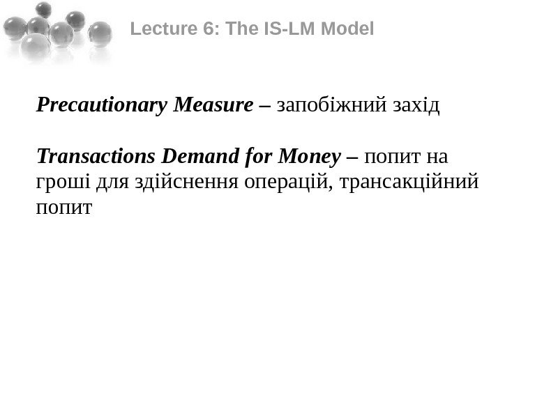 Lecture 6: The IS-LM Model Precautionary Measure – запобіжний захід  Transactions Demand for Money –