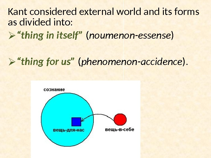 "Kant considered external world and its forms as divided into:  "" thing in itself"" ("