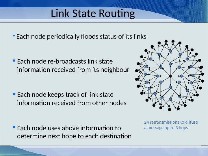 Link State Routing  Each node periodically floods status of its links  Each node re-broadcasts