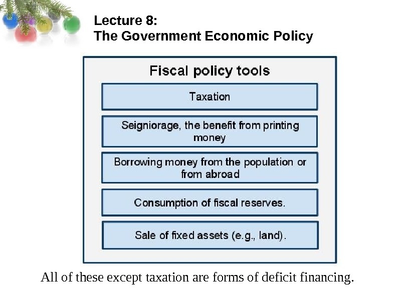 Lecture 8:  The Government Economic Policy All of these except taxation are forms of deficit
