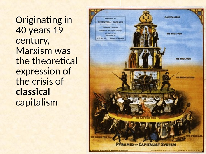 Originating in 40 years 19 century,  Marxism was theoretical expression of the crisis of classical