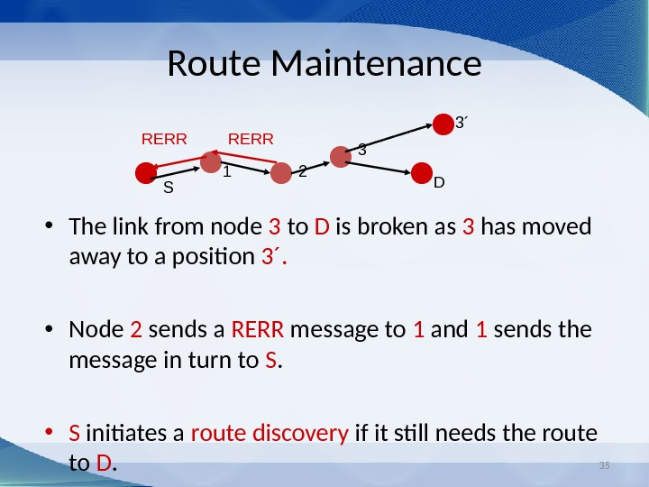 35 Route Maintenance • The link from node 3 to D is broken as 3 has