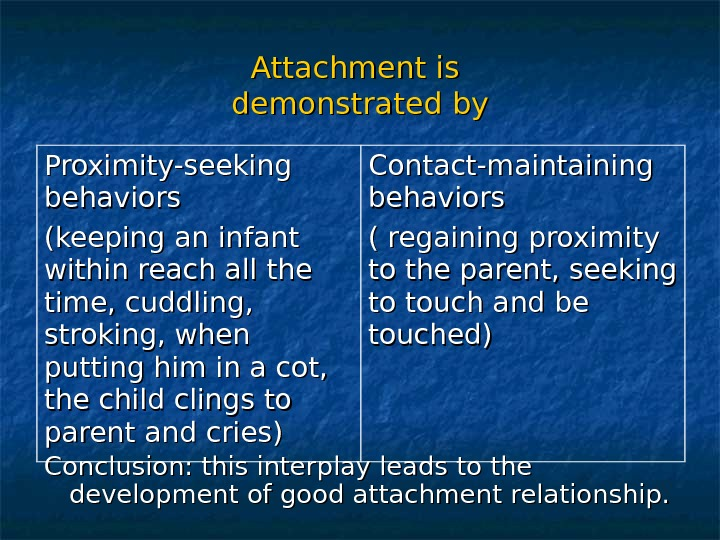 Attachment is demonstrated by Conclusion: this interplay leads to the development of good attachment relationship. Proximity-seeking