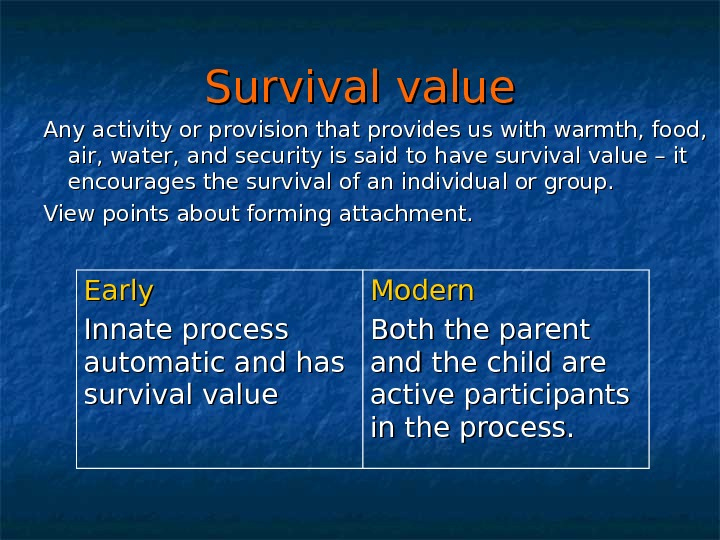 Survival value Any activity or provision that provides us with warmth, food,  air, water, and