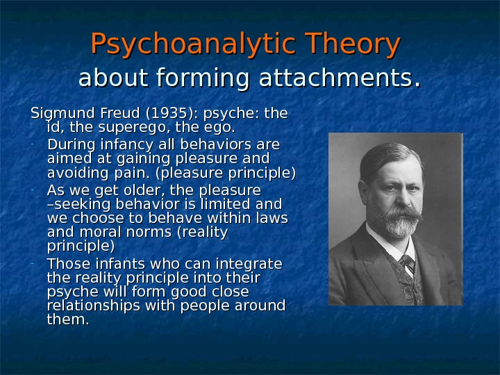 Psychoanalytic Theory  about forming attachments. . Sigmund Freud (1935): psyche: the id, the superego, the