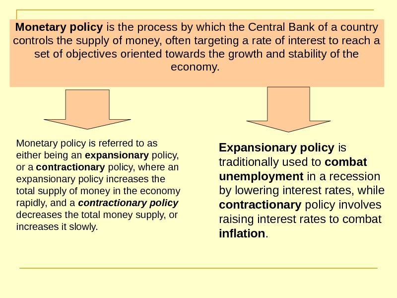 Monetary policy is the process by which the Central Bank of a country controls
