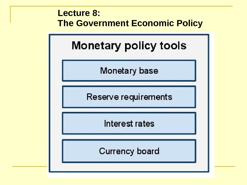 Lecture 8:  The Government Economic Policy