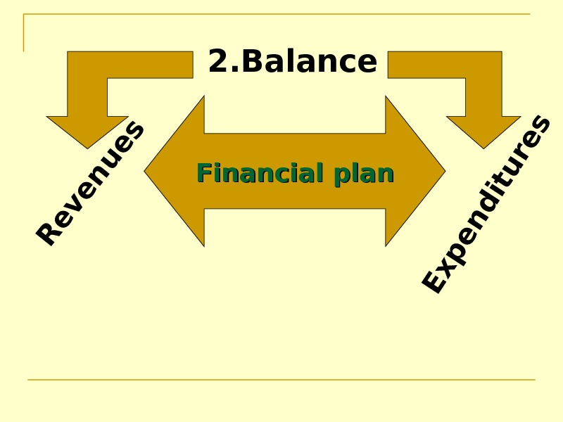 Financial plan 2. Balance. R e v e n u e s E x