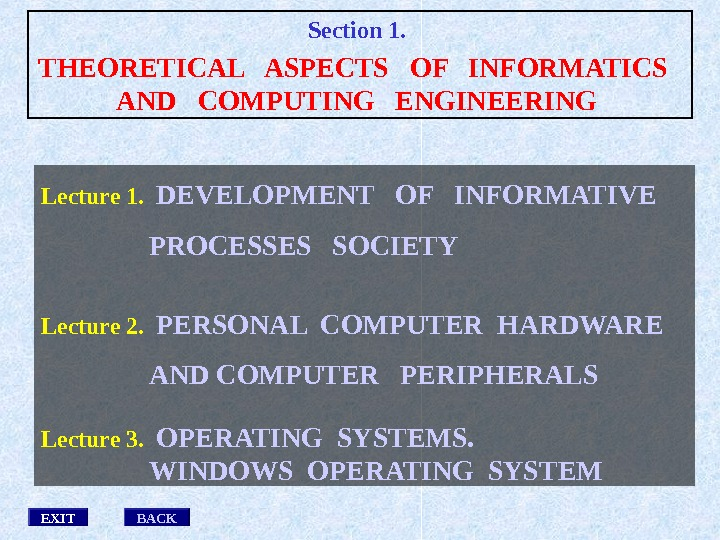 Lecture 1. DEVELOPMENT  OF  INFORMATIVE PROCESSES  SOCIETY Lecture 2. PERSONAL COMPUTER HARDWARE AND