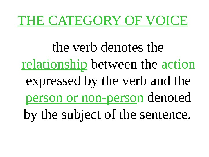 THE CATEGORY OF VOICE the verb denotes the relationship between the action  expressed by the