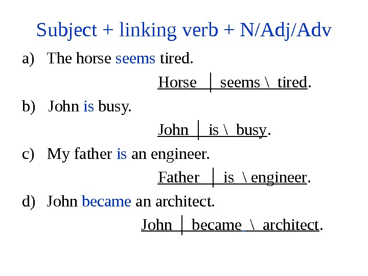 Subject + linking verb + N/Adj/Adv a) The horse seems tired.