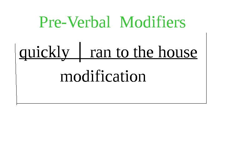 Pre-Verbal Modifiers  quickly │ ran to the house   modification