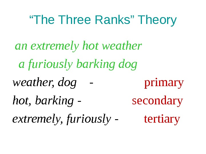 """ The Three Ranks"" Theory  an extremely hot weather  a furiously barking dog weather,"
