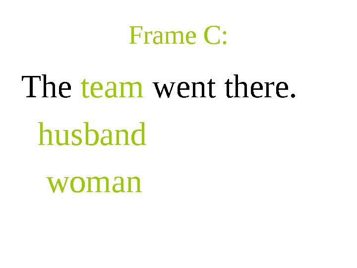 Frame C: The team went there. husband  woman