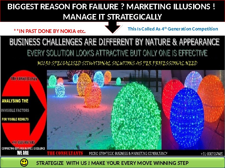 BIGGEST REASON FOR FAILURE ? MARKETING ILLUSIONS ! MANAGE IT STRATEGICALLY **IN PAST DONE BY NOKIA