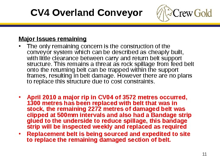 11 Major Issues remaining • The only remaining concern is the construction of the conveyor system