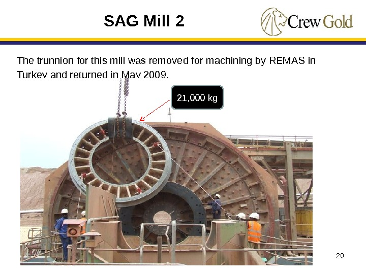 20 The trunnion for this mill was removed for machining by REMAS in Turkey and returned
