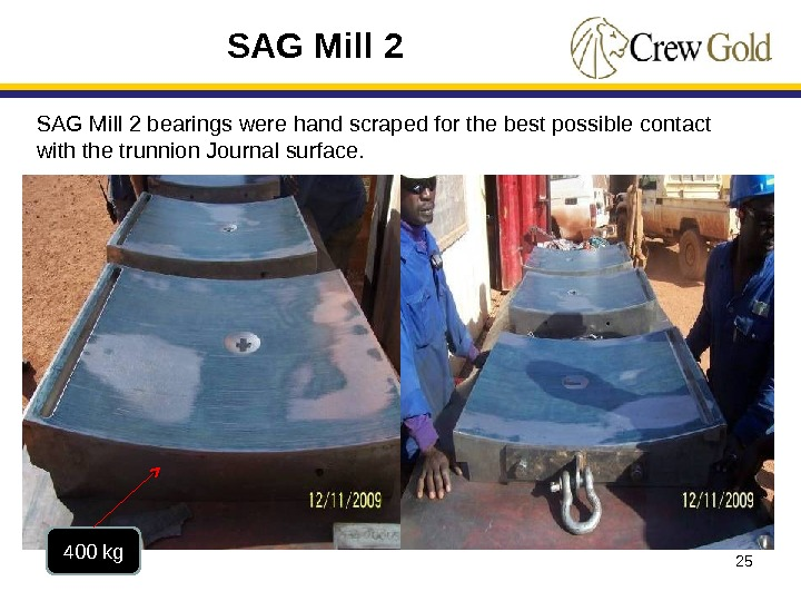 25400 kg SAG Mill 2 bearings were hand scraped for the best possible contact with the
