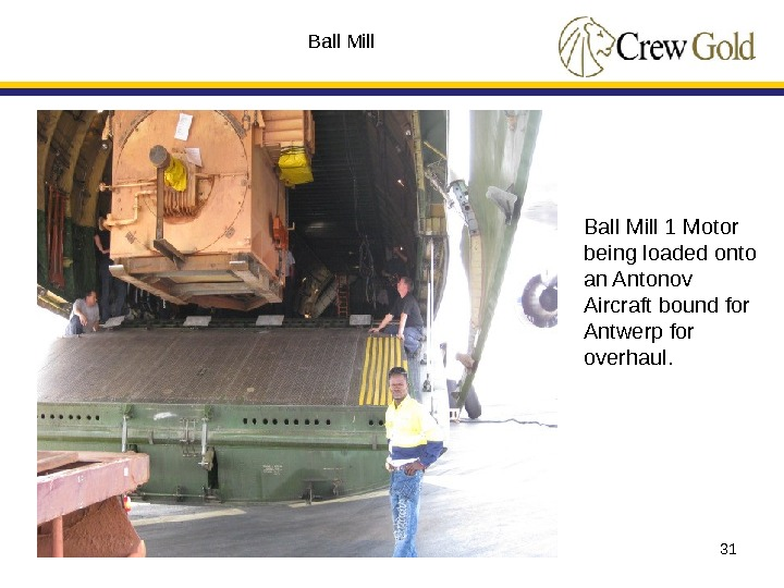 31 Ball Mill 1 Motor being loaded onto an Antonov Aircraft bound for Antwerp for overhaul.