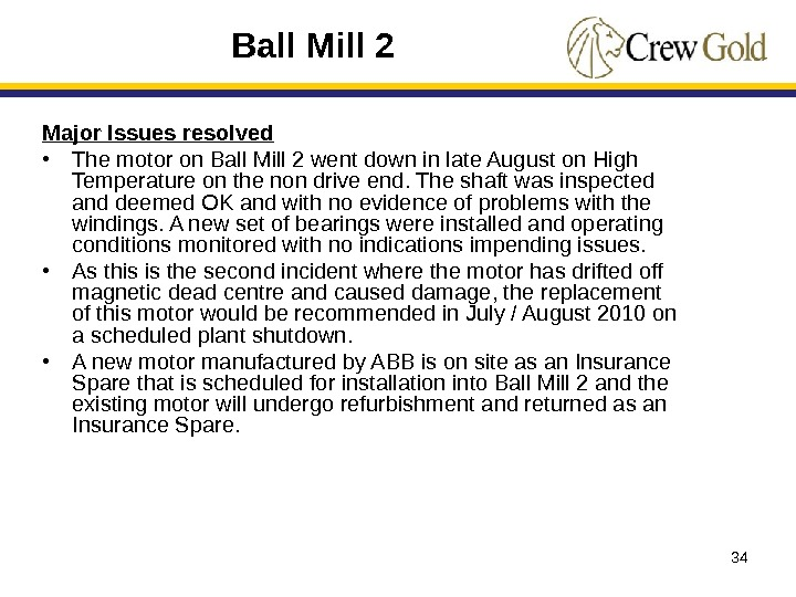 34 Major Issues resolved • The motor on Ball Mill 2 went down in late August
