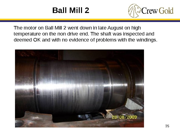 35 The motor on Ball Mill 2 went down in late August on high temperature on