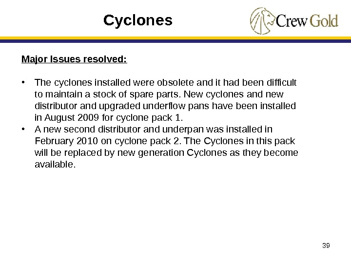39 Major Issues resolved:  • The cyclones installed were obsolete and it had been difficult
