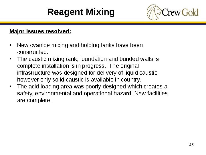 45 Major Issues resolved:  • New cyanide mixing and holding tanks have been constructed.
