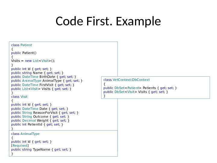 Code First. Example class Patient { public Patient() { Visits = new List  Visit ();