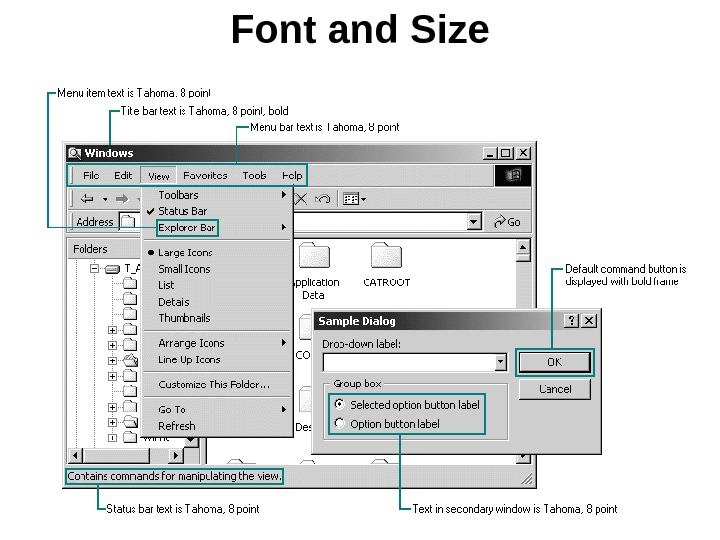 Font and Size