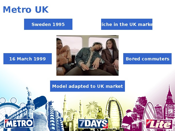Metro UK Sweden 1995 Bored commuters Model adapted to UK market 16 March 1999 Niche in