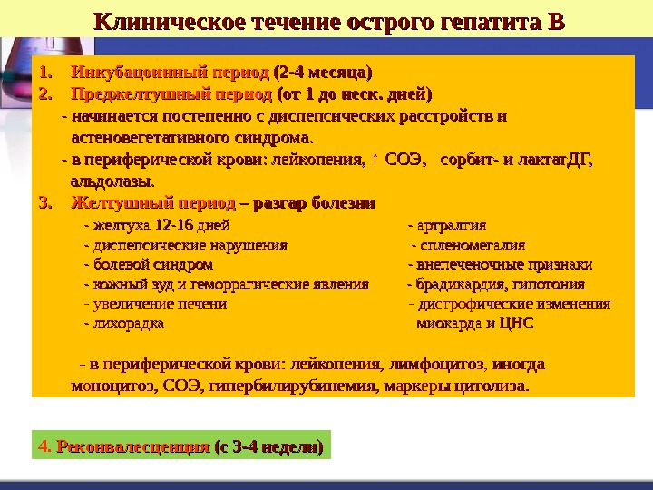 Клиническое течение острого гепатита В 1. 1. Инкубацоинный период