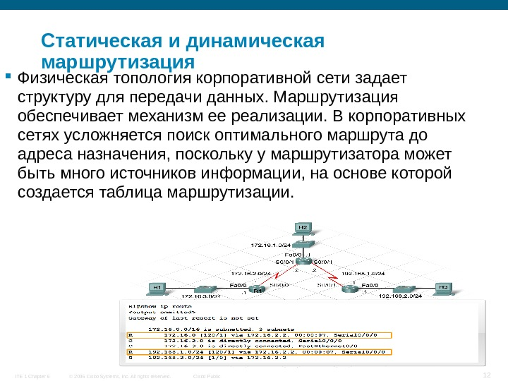 © 2006 Cisco Systems, Inc. All rights reserved. Cisco Public. ITE 1 Chapter 6 12 Статическая