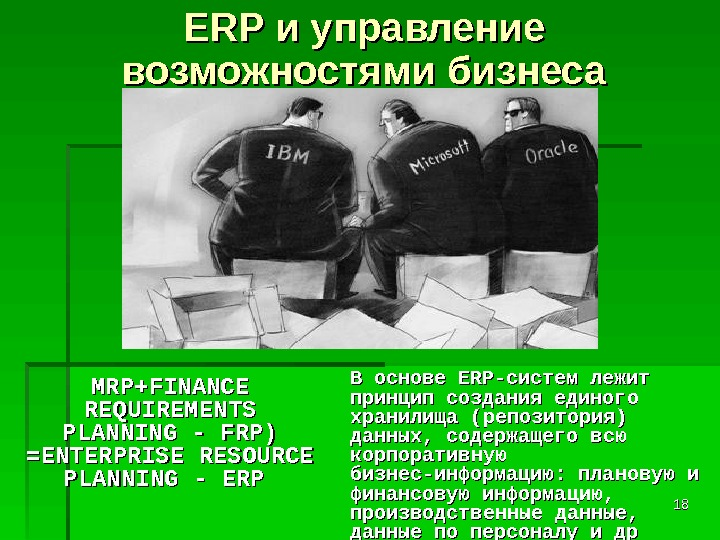 1818ERP и управление возможностями бизнеса MRP+ FINANCE REQUIREMENTS PLANNING - FRP) =ENTERPRISE RESOURCE PLANNING - ERP