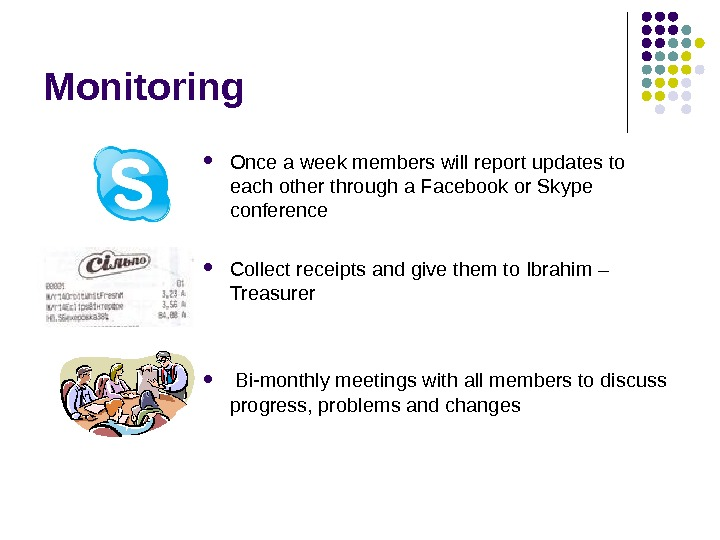 Monitoring Once a week members will report updates to each other through a Facebook